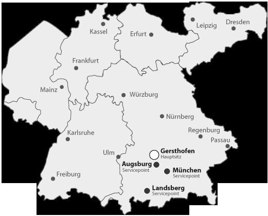 Diebold: Karte Standort und Service Point
